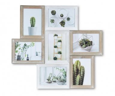 Bilderrahmen Collage 7 Fotos 57x53cm Braun Weiß 13x18 Shabby Chic Vintage Glas