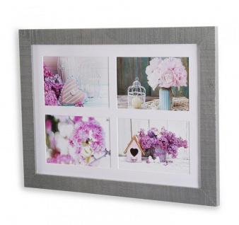 Bilderrahmen Echtholz Kiefer 30x40x2cm Grau 4 Fotos 10x15 Fotorahmen