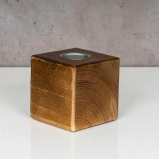 levandeo Teelichthalter Holz Massiv 10x10cm Nussbaum Farbig Kerzenständer Deko - Vorschau 2