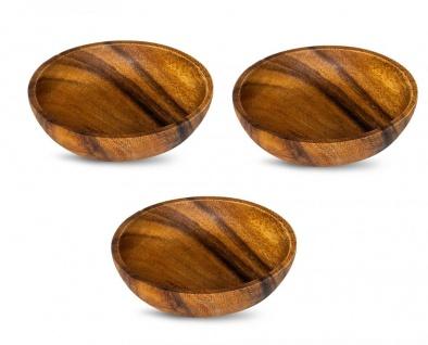 3er Set Teller Akazie 10x2, 5cm Rund Holz Design Schale Snackschale Dekoteller