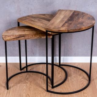 3er Set halbrunde Couchtische Mango Natur Eisen Schwarz Design Holz Beistelltisch - Vorschau 2