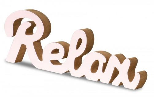 Schriftzug Relax L30cm Pastell Rosa Holz Tischdeko Deko Aufsteller Wohndeko