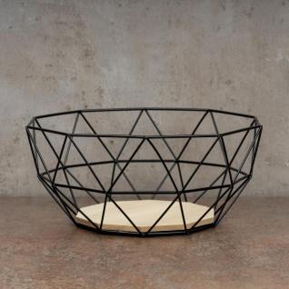 Korb Metall Schwarz 26x12cm Modern Holz MDF Braun Schüssel Schale Deko Design - Vorschau 2