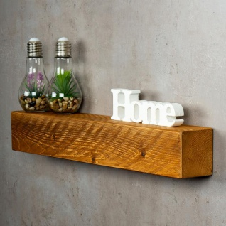 levandeo Wandregal Holz Massiv 60x10cm Teak Farbig Wandboard Regal Vintage Bord - Vorschau 1
