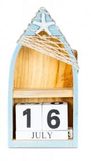 Kalender Boot Maritim 10x20cm Holz Tischkalender Steck-Kalender Tischdeko