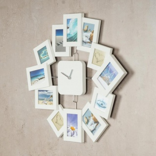 Wanduhr 40, 5x42, 5cm Weiß Bilderrahmen Foto-Uhr 12 Fotos Fotogalerie - Vorschau 3