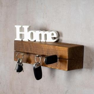 levandeo Schlüsselbrett Holz Massiv 35x10cm Nussbaum lackiert Schlüsselleiste - Vorschau 2