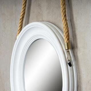 Spiegel 40cm Rund Wandspiegel Flurspiegel Weiß mit Kordel Wanddeko Deko - Vorschau 4