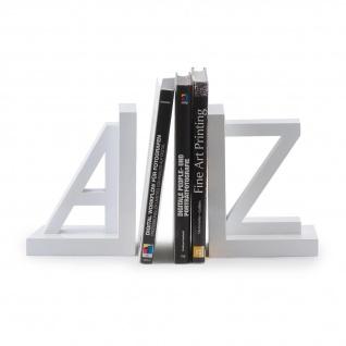 2er Set Buchstützen A und Z Weiß Holz 15x11x15cm Buchhalter Stützen - Vorschau