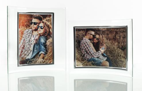 2er Set geschwunge Bilderrahmen aus Glas je 1 Foto in 13x18cm/18x13cm
