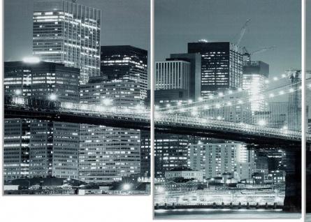Wandbild 4 teilig New York Brooklyn Bridge USA Amerika Bild Leinwand - Vorschau 3