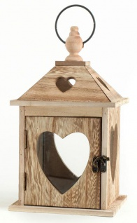 2tlg. Laternen Set Holz Herzen braun Glas Shabby Chic 24cm & 40cm 2er - Vorschau 3