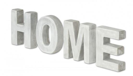 Schriftzug Home Beton 4tlg. Grau Zement Tischdeko Buchstaben Je 10cm Höhe Deko
