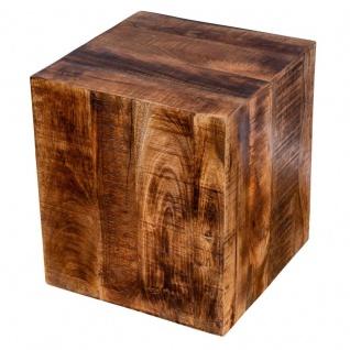 Beistelltisch Hocker 40x45cm Mango Tisch Holzhocker Rollen Holztisch Massiv-Holz