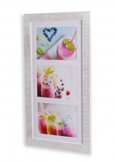 Bilderrahmen Echtholz Kiefer 48x26, 5x2cm Weiß 3 Fotos 13x18 Fotorahmen
