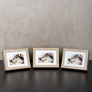 levandeo 3er Set Bilderrahmen 9x13cm Eiche gekälkt Holz MDF Glasscheiben