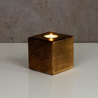 levandeo Teelichthalter Holz Massiv 10x10cm Nussbaum Farbig Kerzenständer Deko - Vorschau 3