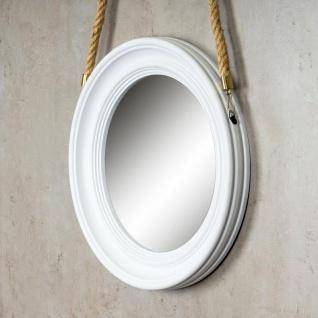 Spiegel 40cm Rund Wandspiegel Flurspiegel Weiß mit Kordel Wanddeko Deko - Vorschau 3