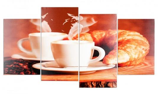 Wandbild 4 teilig Kaffee Bohnen Cafe cappuccino Espresso Bild Leinwand - Vorschau 1