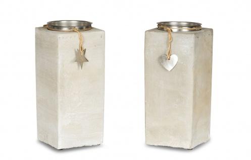 2er Set Kerzenständer Beton Je 23cm Hoch Kerzenleuchter Grau Kerzenhalter Deko