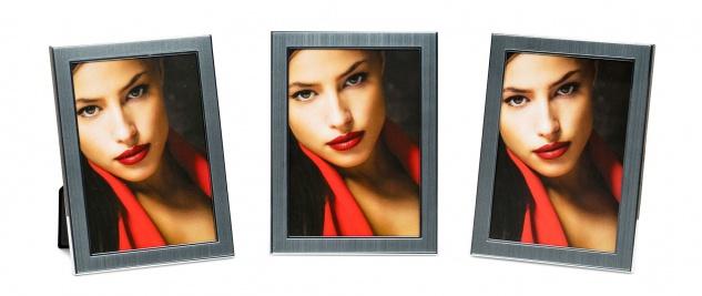levandeo 3er Set Bilderrahmen 13x18cm Alu Aluminium silber Fotorahmen Glas