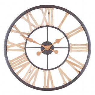 XXL Wanduhr 60cm Uhr Holz Braun Küchenuhr Wanddeko Dekoration Metallrahmen