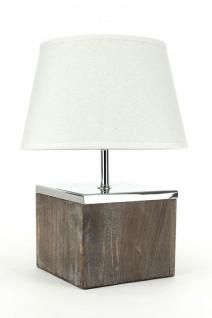 Tischlampe Lampe in braun Tanne weißer Schirm 32x15x15 Tischleuchte