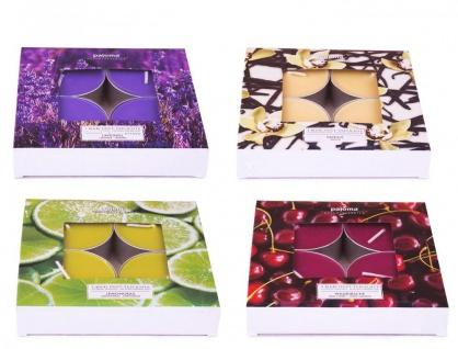 16 Kerzen 4x4 Wildkirsche Vanille Lemongras Lavendel Duftkerzen Maxi Teelicht