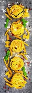 levandeo Wanduhr Glas 20x60cm Glasuhr Uhr Glasbild Pasta Nudeln Küche Wanddeko