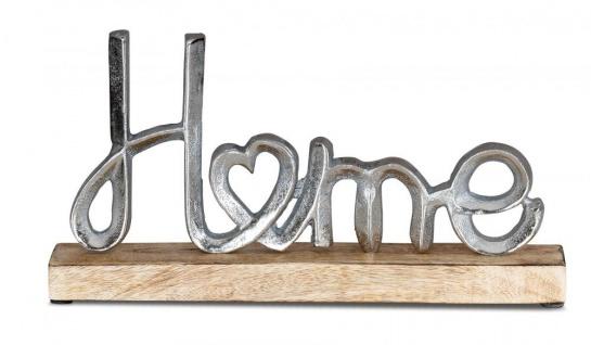 Aufsteller Mango Schriftzug Home H17cm Metall Holz Deko Mangoholz Tischdeko
