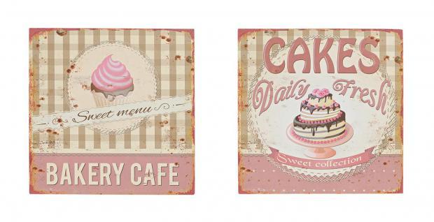 2er Set Blechschild Metall 30x30 Rosa Vintage Shabby Chic Küche Cafe - Vorschau 1