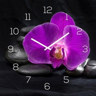 levandeo Wanduhr Glas 30x30cm Glasuhr Uhr Glasbild Rosa Orchidee Schwarz Deko