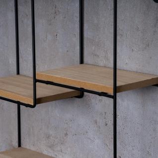 Wandregal Regal 35x50cm Metall Schwarz Holz MDF Natur Modern Industrie Design - Vorschau 5