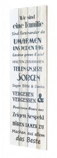XXL Holzbild 120x40cm Holzschild Familienregeln Familie Shabby Chic Vintage Deko