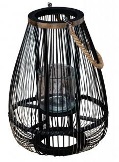 Laterne H45cm Bambus Windlicht Schwarz Holz Glas Kerzenhalter Sisal Deko