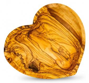 Holzschale Olivenholz ca. 22x21cm Herz Schale Holz Tischdeko Dekoschale Unikat - Vorschau 1