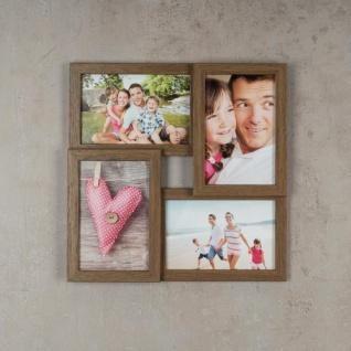 levandeo Bilderrahmen Collage 28x28cm 4 Fotos 10x15 Nussbaum MDF Holz Glas - Vorschau 2