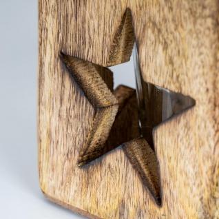 2er Set Windlicht Stern Herz 9cm Mangoholz Teelicht Teelichthalter Kerze Glas - Vorschau 2