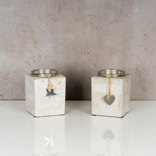 2er Set Kerzenständer Beton Je 13cm Hoch Kerzenleuchter Grau Kerzenhalter Deko - Vorschau 4