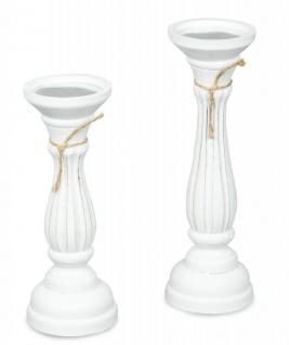 2er Set Kerzenhalter 28cm und 32cm Holz Shabby Chic Kerzenständer Vintage Weiß