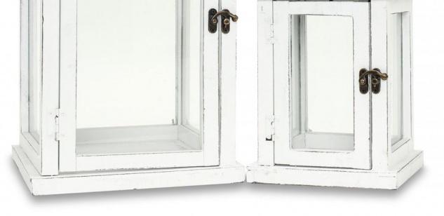 2tlg. Laternen Set Holz weiß Metall Glas Shabby Chic Garten Gartendeko - Vorschau 4