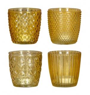 4er Set Windlicht H7, 5cm Glas Gelb Teelichthalter Tischdeko Kerzen Retro Deko