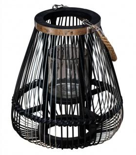 Laterne H30cm Bambus Windlicht Schwarz Holz Glas Kerzenhalter Sisal Deko