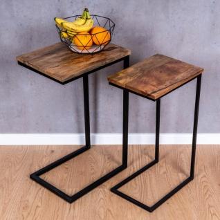 2er Set Beistelltisch Mango Natur Eisen Schwarz Design Holz Couchtisch Deko - Vorschau 4
