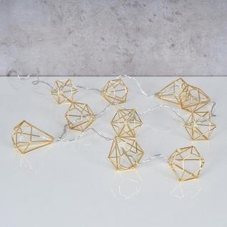 10er Lichterkette LED Metall Gold Diamant Licht Beleuchtung Deko Industrial - Vorschau 2