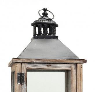 2tlg. Laternen Set Holz natur braun Metall Glas Shabby Chic Garten - Vorschau 2