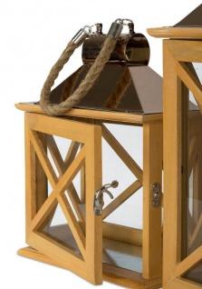 2er Set Laternen 32cm und 22cm Holz Metall Natur Windlicht Deko Garten - Vorschau 4