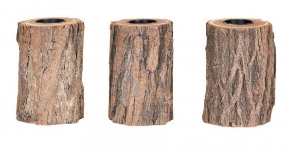 3er Set Teelichthalter Holz H15cm Kerzenhalter Kerzenständer Baum Natur Unikat