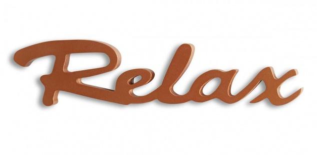 Schriftzug Relax kupfer Holz zum Hängen Wandobjekt Dekoration