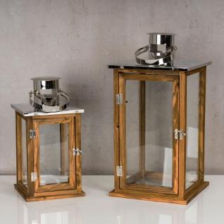 2er Set Holzlaternen Windlichter Hochwertig Holz Metall Glas braun - Vorschau 2